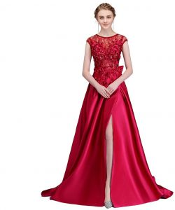 9763bfc1c76d7 SSYFashion Wine Red Satin Evening Dress Bride Wedding Party Prom Gown Size 4