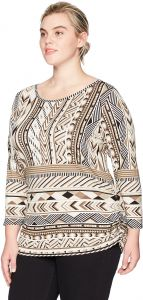 21ae9b4b36e Ruby Rd.. Women s Plus Size Printed 3 4 Sleeve Knit Top with Double Side  Ruching