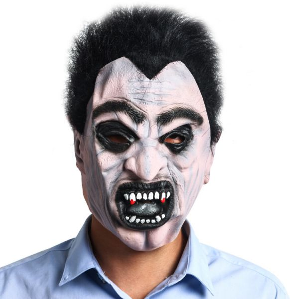 Halloween Costume 398.Black Hair Horror Face Devil Mask Halloween Show Party Scary Party Bar Headgear Mask Halloween Props