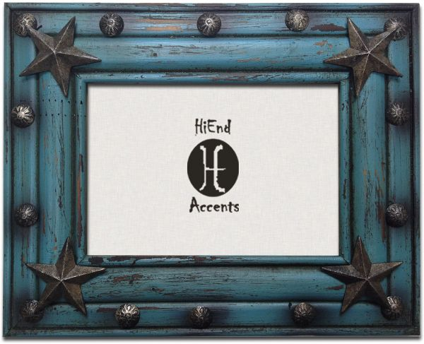 HiEnd Accents Western Distressed Wood Frame with Tacks and Stars ...