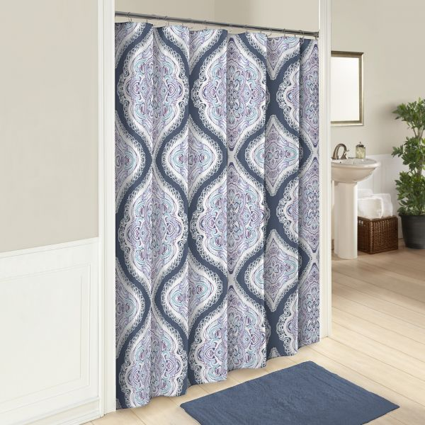 Marble Hill 16247SHWR072MUL Lotus 72 Inch By Shower Curtain Multi