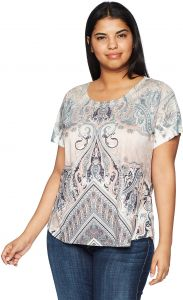 622d03254ad83a OneWorld Women s Plus Size Short Sleeve Scoopneck Printed Tee