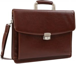 032681f39f DEERLUX QI003305 Leather Briefcase, Mens Business Messenger Bag for Laptop  Brown