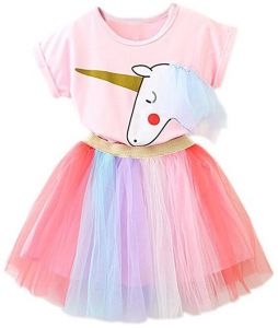 805157630b1 TTYAOVO Girl Unicorn Clothing 2pcs Outfits Pink Tops   Colorful Lace Tutu  Skirts Party Dresses Girls Christmas Halloween Pony Dreams Princess for  Baby Girls ...