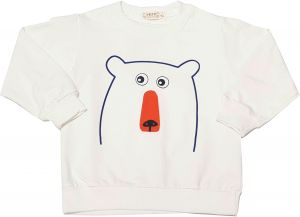 9b75d6e20b944b My Kids White T-shirt with Bear Print, Round Neck and Full Sleeves Design  for Age 4 years