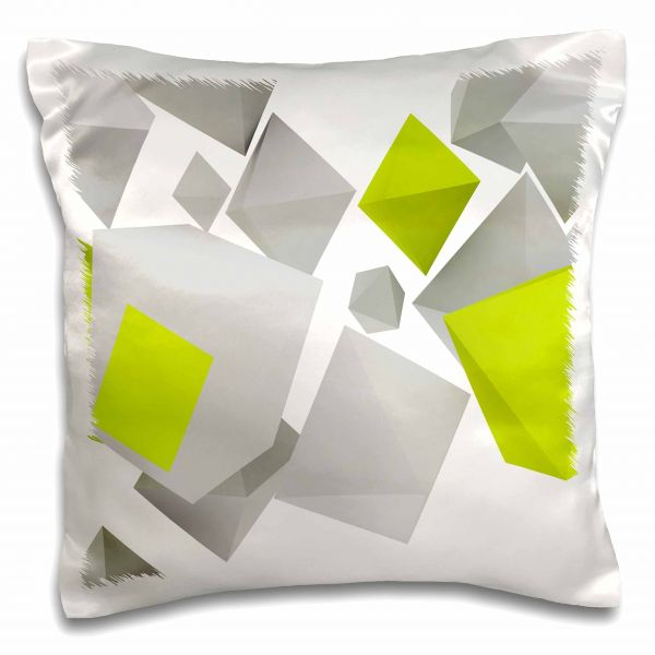 3d Rose Gray And Lime Green Falling Geometric Shapes Design Pillow
