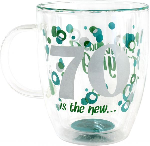 Top Shelf 70th Birthday Decorative Double Wall Clear Glass Coffee Mug Novelty Gift Ideas For Dad Mom Grandma Sister And Friends Artistic Design