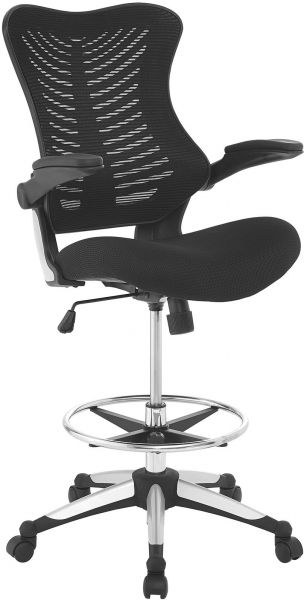 Modway Charge Drafting Chair In Black Reception Desk Chair Tall Office Chair For Adjustable Standing Desks Drafting Table Chair Flip Up Arms