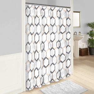 Vue Hexagonal Shower Curtain 72x72 Grey