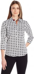 574bd2391cdc01 Foxcroft Women's 3/4 Sleeve Ava Wicker Print Shirt, Black/White, 18. by  Foxcroft, Tops - Be the first to rate this product
