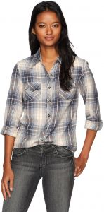393c0cad8d2 Angie Women s Long Sleeve Plaid Button up Top