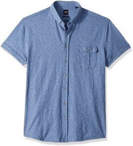 9e8b15499 BOSS Orange Men's Garment Washed Cotton Jersey Shirt with Contrast Detail,  Blue, Small