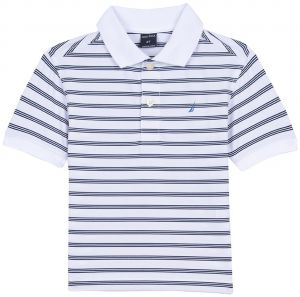 e2c3c98d1bde18 Nautica Boys' Short Sleeve Striped Performance Polo Shirt, Shore White, 3T  | Souq - UAE