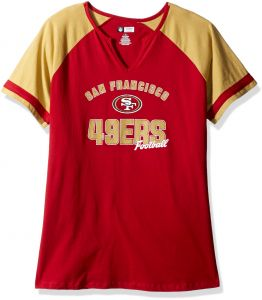13ccaac50 NFL Team Apparel NFL San Francisco 49ers Women S S NOTCH V NECK TEE