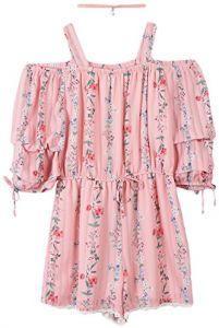 93e9eeabf8d5 Speechless Big Girls  Off The Shoulder Romper With Tiered Sleeves
