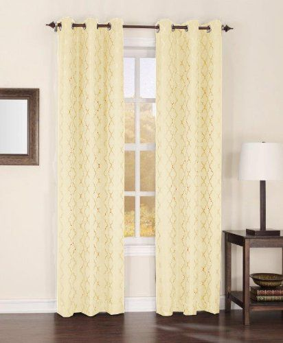 Easy Care Fabrics Thermal Grommet Top Trellis Embroidered Room