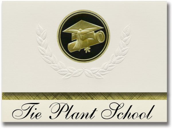 Signature Announcements Tie Plant School (Grenada, MS) Graduation  Announcements, Presidential style, Elite package of 25 Cap & Diploma Seal   Black &