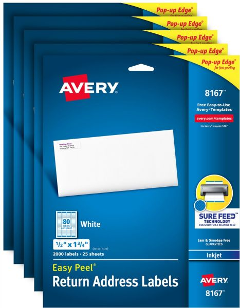 avery address labels with sure feed for inkjet printers 0 5 x 1 75