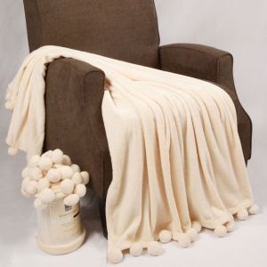 Wondrous Home Soft Things Boon Pompom Bed Couch Throw Blankets 50 X 60 Antique White Bralicious Painted Fabric Chair Ideas Braliciousco