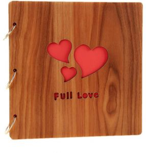 b65721386 Wood Cover Photo Album Picture Book with Black Card Pages for Guest Book  Family couples full love of Beautiful Memories