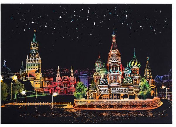 Card Gift City Night Landscape Scratch Art Painting Paper Colorful Drawing With Brush Set For Kids Children Friends As Gifts London Square