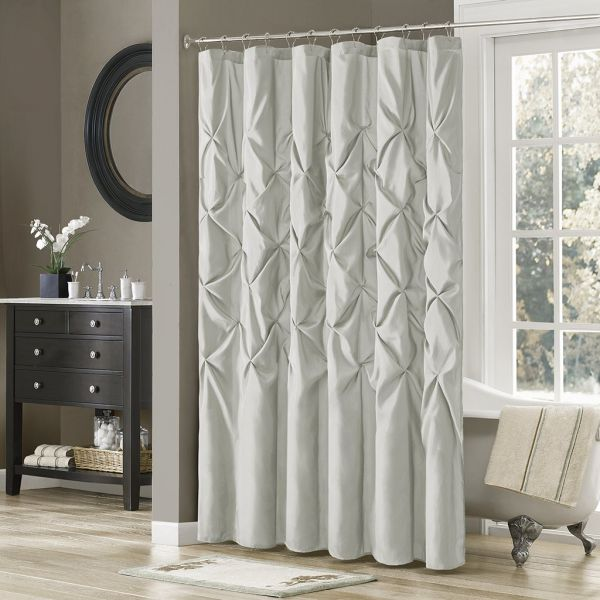 Madison Park MP70 1393 Laurel Satin Shower Curtain 72x72 Grey72x72
