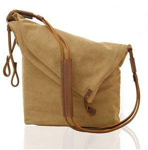 fceba2112b98 Mens Vintage Canvas Leather Satchel School Military Messenger Shoulder Bag  Travel Bag Khaki Little C
