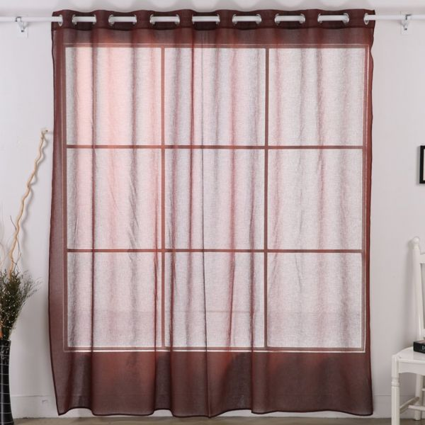 Deconovo Sheer Grommet Curtain Wide Width Panel For Living Room Brown 100 95 Inch One Souq Uae
