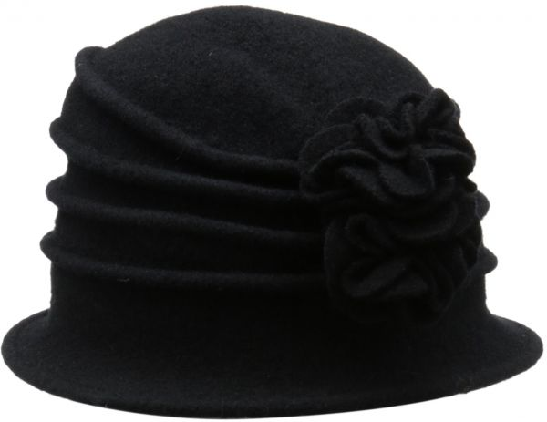 a99f3aa56a1 Scala Women s Boiled Wool Cloche Hat with Flower