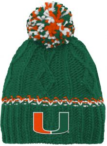 NCAA by Outerstuff NCAA Miami Hurricanes Youth Girls Cable Knit Cuffless Hat  w  Pom 87634366690c
