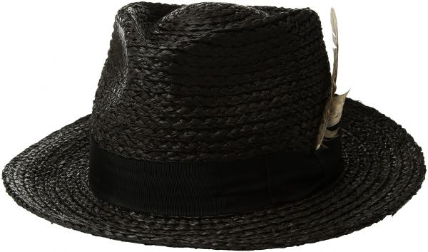 502a0ac38610e Brixton Men s Crosby Medium Brim Straw Fedora Hat