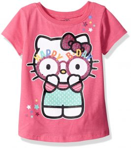 Hello Kitty Girls Little Happy Birthday T Shirt Carmine Rose 5