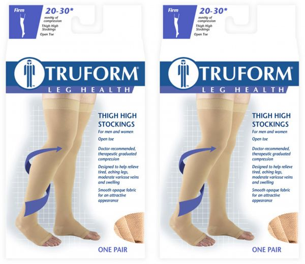 85359ffe6 Truform Compression 20-30 Mmhg Thigh High Open Toe Dot Top Stockings ...