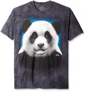 The Mountain Panda Head Adult T Shirt Black 3XL