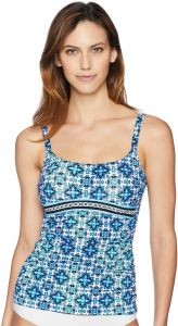 296c654f3cd09 Profile by Gottex Women's Printed Scoop Neck Tankini Top Swimsuit, Collage  Multi/Blue, 8