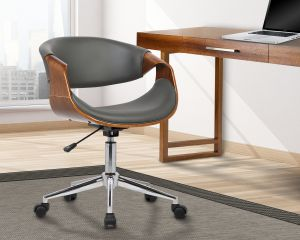 Wondrous Armen Living Lcgeofchgrey Geneva Office Chair In Grey Faux Leather Chrome Finish Pabps2019 Chair Design Images Pabps2019Com