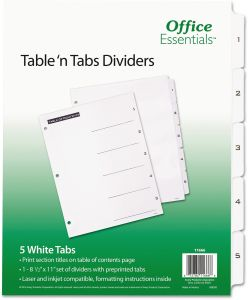 office essentials 11666 table n tabs dividers 5 tab letter