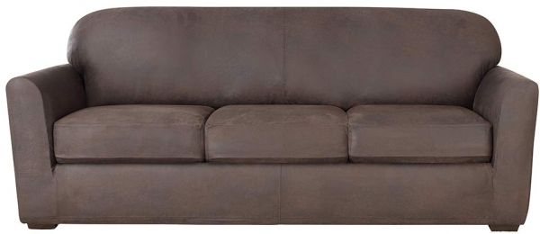 Sure Fit Ultimate Stretch Leather Sofa Slipcover Weathered Saddle Sf44050
