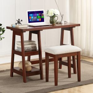 Outstanding Major Q Pxf4640 Cherry Finish Wooden Writing Desk With 2 Side Shelves And Stool Gmtry Best Dining Table And Chair Ideas Images Gmtryco