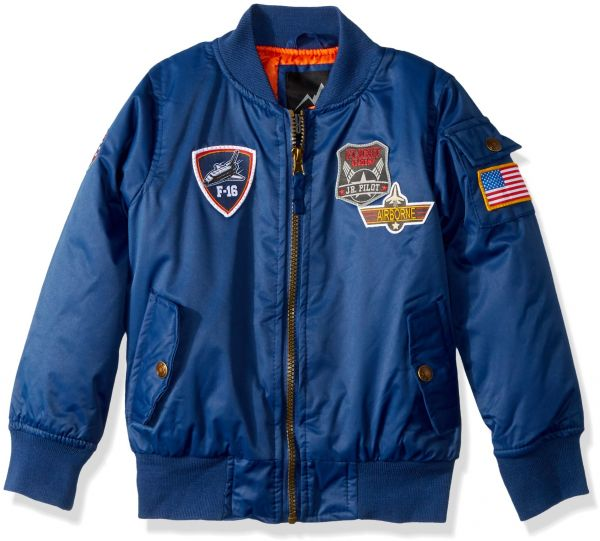 iXtreme Big Boys' Midweight Bomber with Patches, Navy, 18