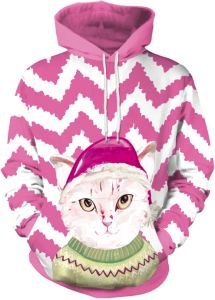 0ccd5d5983 Feline Christmas hat print hooded hooded sweater for autumn winter  Christmas 2018 Winter women hoodie wear Christmas sweater ladies clothes