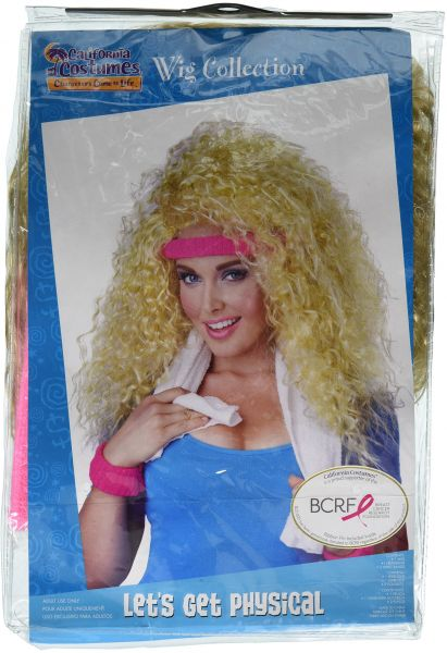 California Costumes Womens Lets Get Physical Wig Headband And Sweat Band 80s Aerobics Dance Set Blonde One Size