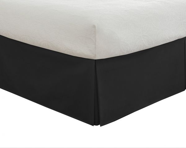 Lux Hotel Bedding Tailored Bed Skirt Clic 14 Drop Length Pleated Styling Full Black