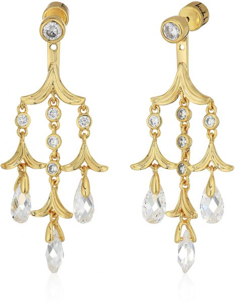 Nicole Miller Briolette Triple Drop Chandelier Gold Clear Earrings Jacket
