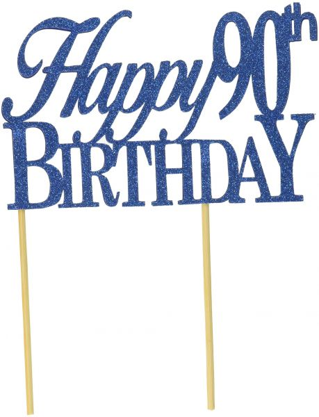 All About Details Blue Happy 90th Birthday Cake Topper