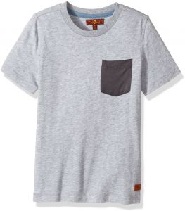 cee0870d 7 For All Mankind Little Boys' Short Sleeve T-Shirt (More Styles  Available), Heather Grey, 7