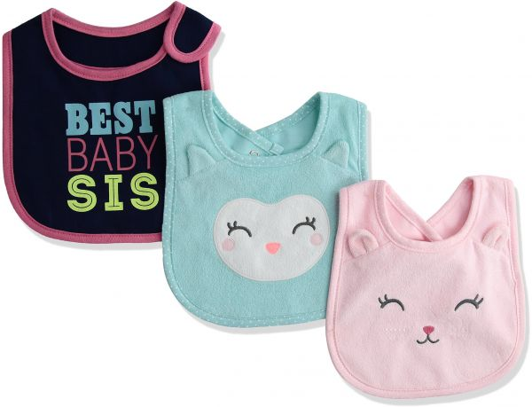 79d884aa3 Carter's Baby Girl 3-pack Bibs, Cat/Sister / Owl, One Size   Souq - UAE