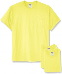a7b92bba8 Jerzees Men's Adult Short Sleeve Pocket Tee 3 Pack, Safety Green, Large