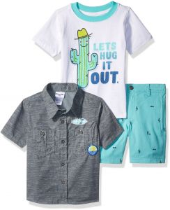 8a72f0da Nannette Little Boys' 3 Piece Woven Shirt and Tee Short Set, Dkgry, 6