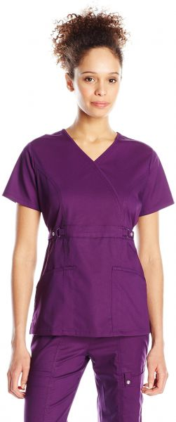 910ee5fe721 Cherokee Women's Jr. Fit Mock Wrap Top, Eggplant, Large. by Cherokee,  Uniform - Be the first to rate this product
